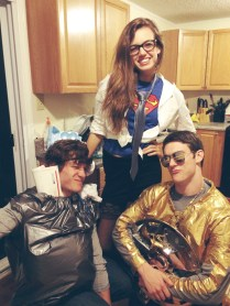 Notice the egg carton. And here we are with his BFF. Don't ask me what he is dressed up as or why he's wearing a gold duct tape jacket, because I can't tell you.