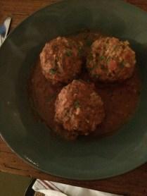 I had rice meatballs with beef. Super good.