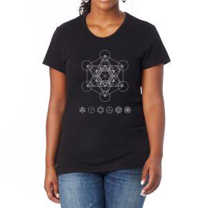 Shine Your Heart Metatron's Cube Sacred Geometry Women's Tee
