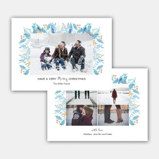 Blue Leaves Christmas Card Template