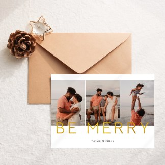 Gold Merry Christmas Card Template