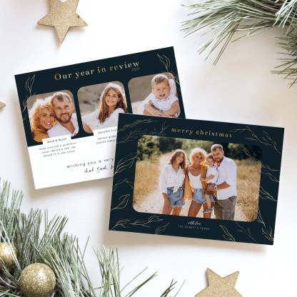 Gold Review Christmas Card Template
