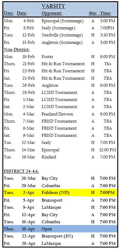 2019 Sweeny Baseball Schedule