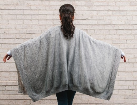 A2F Feel the Piece Raleigh Heather Grey Ombre Poncho