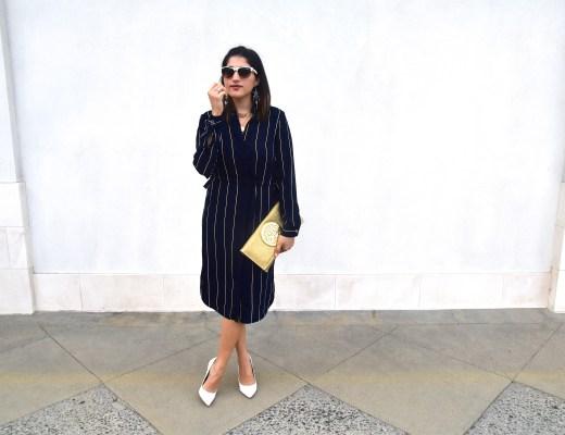 A2F Ramadan Looks H&M Striped Dress Full