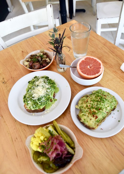 Park Cafe brunch with avocado toast, kale toast, grapefruit, and home made pickles