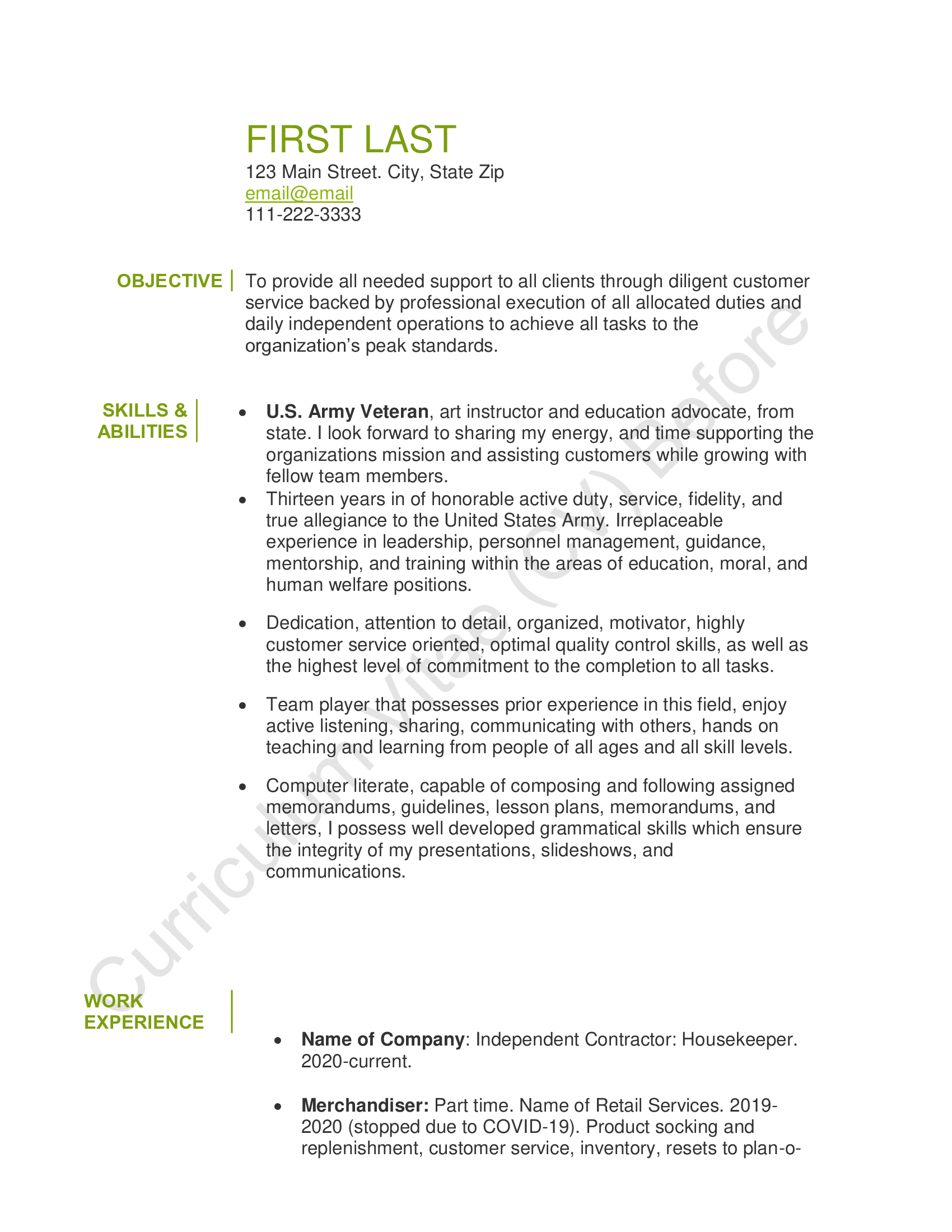 CV Before Page 1