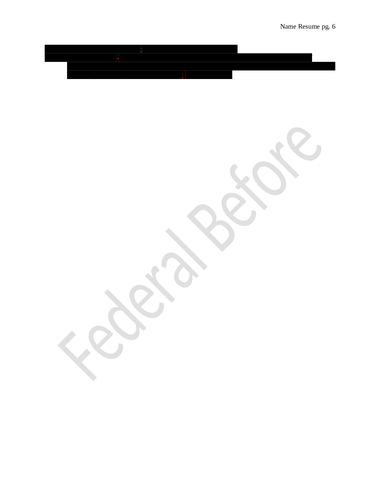 Federal Resume Before Page 6