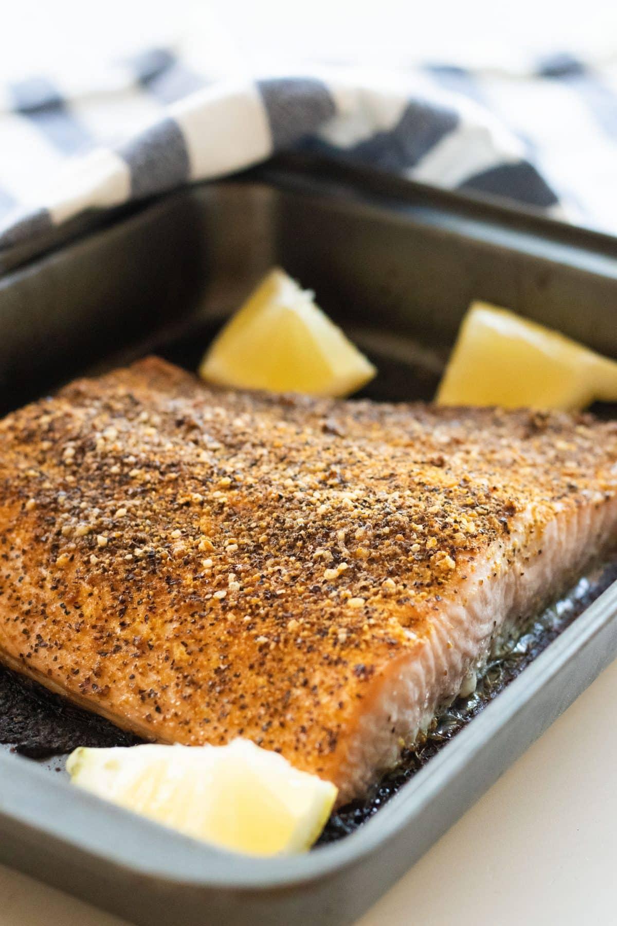 Oven Baked Salmon With Lemon Pepper