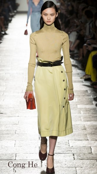 Model: Cong He, Look 74, Bottega Veneta Spring 2017 Ready-to-Wear, via Vogue.com