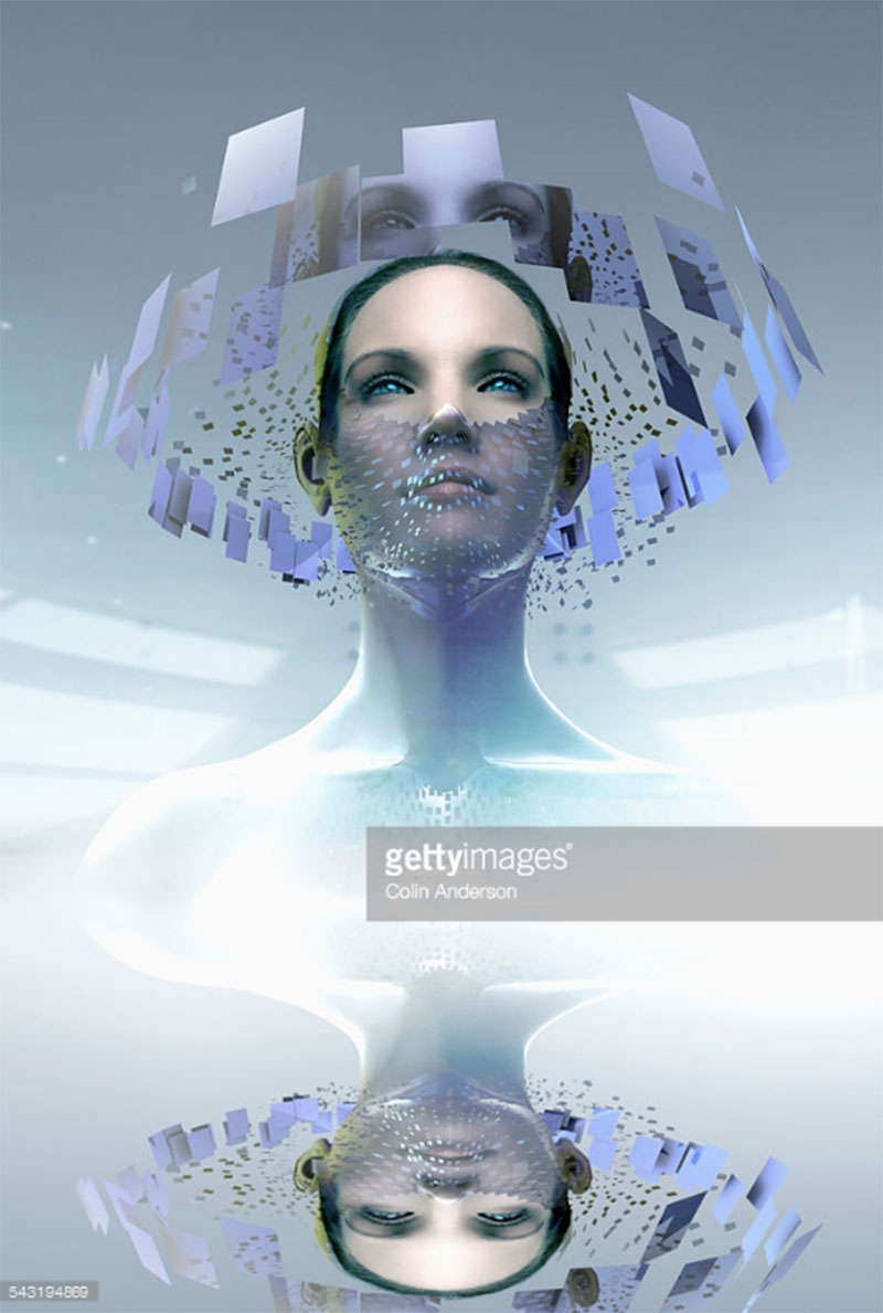 Woman wearing artificial intelligence screen mask. Article: INTJ mastermind series, part 1. Photo Credit: Colin Anderson - 543194869. gettyimages.com / published on Alwaysuttori.com.