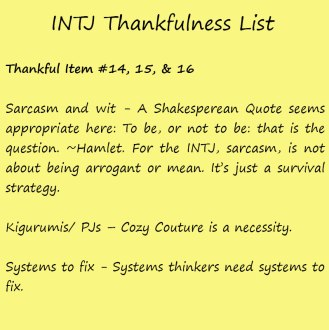 Introvert Life: The Thankful INTJ. Thankful -16