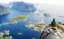 NORVEÇ – Reinebringen Dağı'nın kuşbakışı görünümü