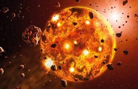 4,5 Milyar yıl önce Dünya, genç Güneş'in etrafını saran toz ve taş bulutlarından meydana gelmiştir. Bu taşların bazılarının çarpışması sonucu Dünya yavaş yavaş şekillenmeye başlamıştı. Oluşan çekim kuvveti ile de çevresindeki diğer kayaları kendine çekerek oluşumunu tamamlamıştır. Ay da muhtemelen çok kısa bir süre sonra gezegen büyüklüğünde bir kaya parçasının Dünya'ya çarpmasıyla oluşan enkaz bulutundan meydana gelmiştir.
