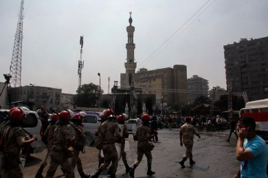 Military police controlling the Rabaa area after the sit in was dispersed yesterday