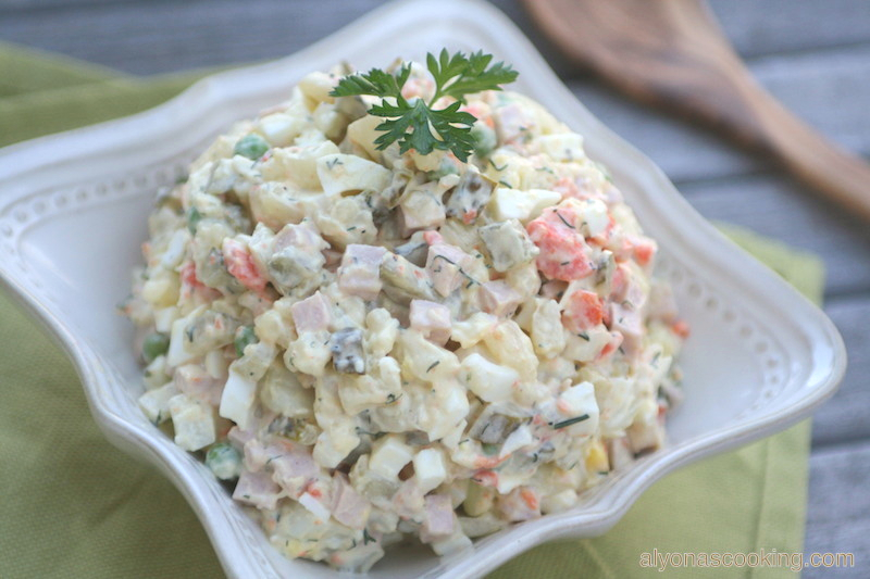 olivye, Olivier salad, салат Оливье, Оливье Cалат, Ukrainian potato salad, salad, potato salad, russian potato salad, bologna salad, pickles, red potatoes, potato, creamy salad, mayonnaise salad