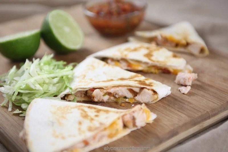 zoom in chicken quesadilla