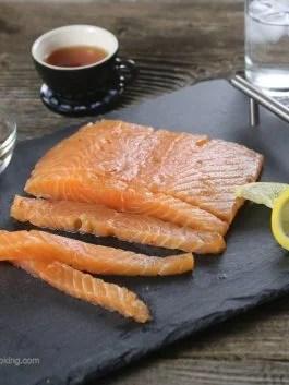 cured salmon, raw salmon