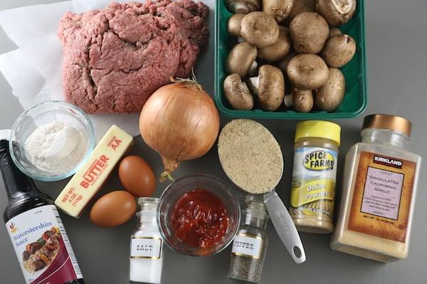 Ingredients for Salisbury Steak with Mushroom Gravy