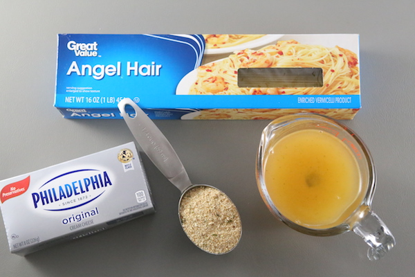 Ingredients for Cream Cheese Pasta, Easy Pasta Recipes, Angel Hair Pasta
