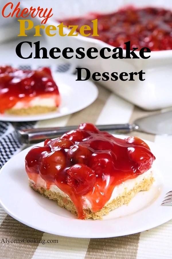 cherry,pretzel,cheesecake,dessert