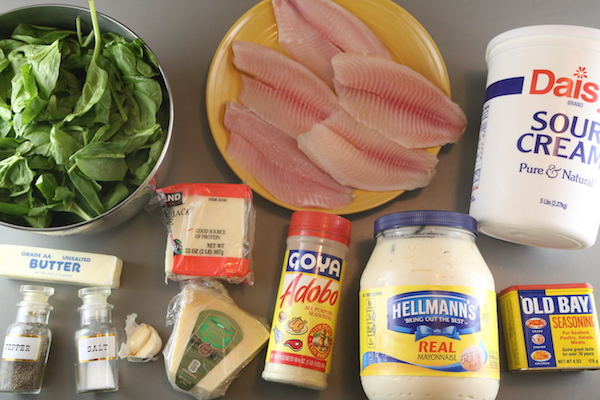 creamy-baked-tilapia-spinach-casserole-step-ingredients