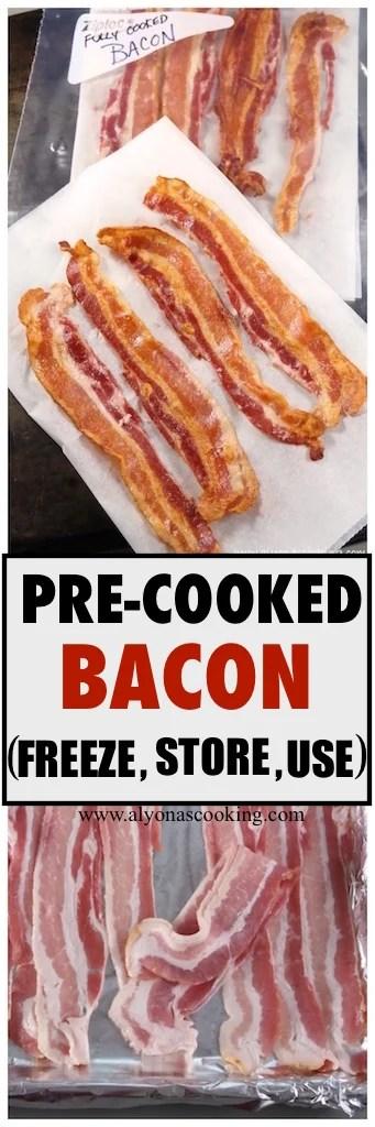 pre-cooked bacon recipe, freeze bacon, how to pre-cook bacon