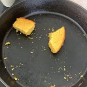 easy cornbread baked in a cast iron skillet