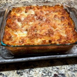 lasagna recipe in glass baking dish