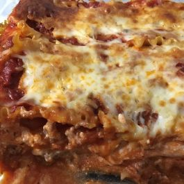 lasagna baked in glass dish