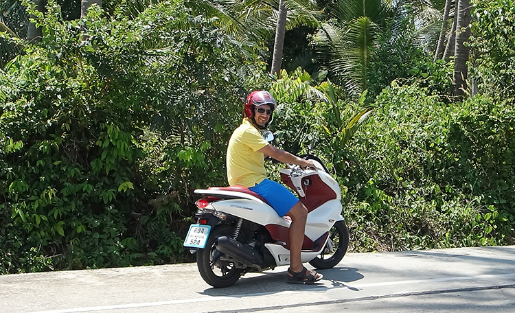 Jean on our Honda PCX 150