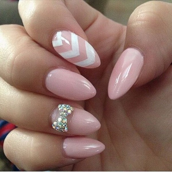 Baby-Pink-Almond-Nails-With-A-Studded-Bow-And-White-Chevron-Lines Beautiful Almond Nail Designs