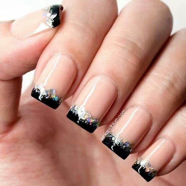Black-And-Silver-Glitter-Tipped-French-Nails Elegant Black Nail Art Designs