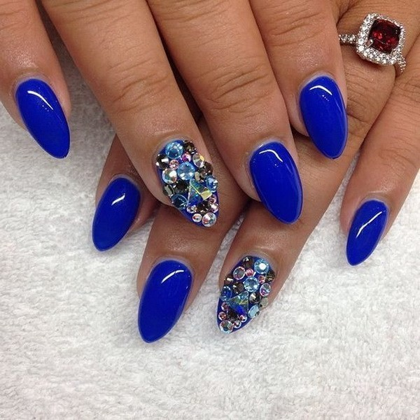 Blue-Almond-Shaped-Nails-With-Gems-Accents Beautiful Almond Nail Designs