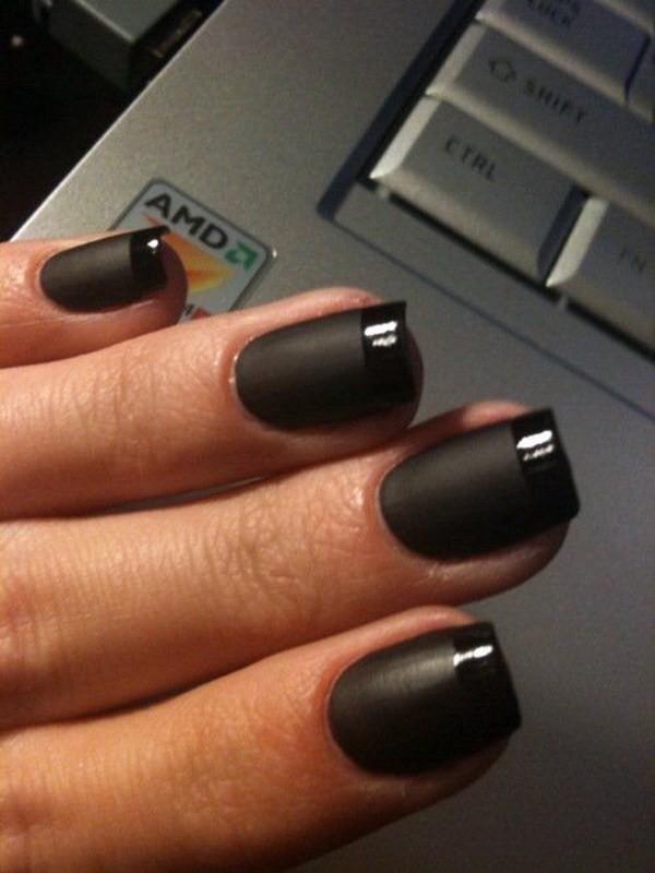 Glossy-French-Tips-Design-For-Black-Nails Elegant Black Nail Art Designs