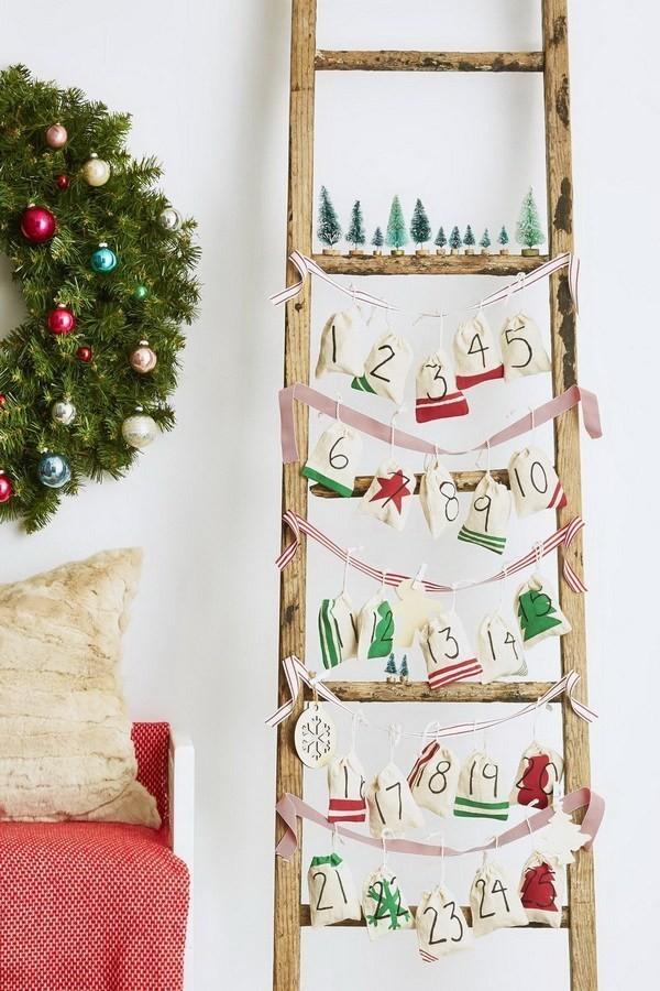 Ladder-Advent-Canlendar Elegant Christmas Decorating Ideas