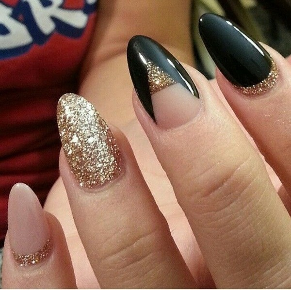 Nude-Black-And-Gold-Glitter-Almond-Nails Beautiful Almond Nail Designs