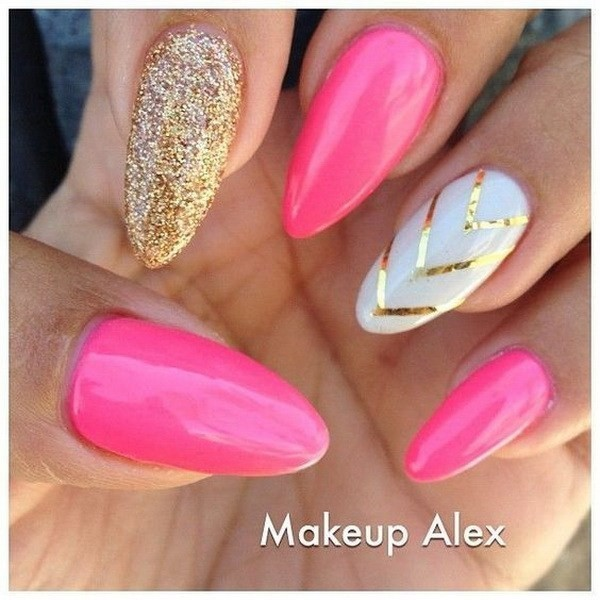 Pink-And-White-Almond-Nails-With-Gold-V-Shaped-Strips Beautiful Almond Nail Designs