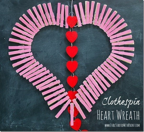 Adorable-Clothespin-Heart-Wreath Sweet DIY Valentine's Day Decoration Ideas