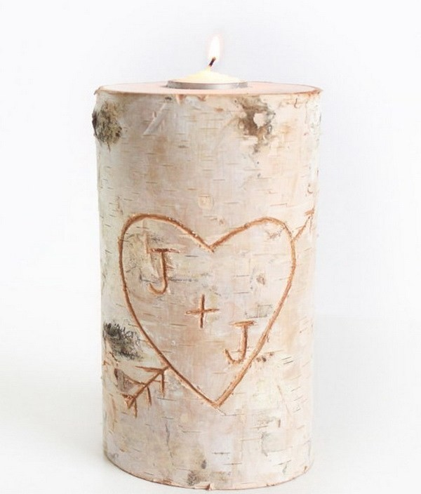 Birch-Pillar-DIY-Candle-Holder Sweet DIY Valentine's Day Decoration Ideas