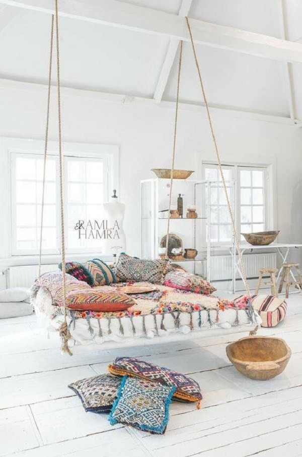 Boho-inspired-living-room-wit-a-hammock Chic Bohemian Interior Design Ideas