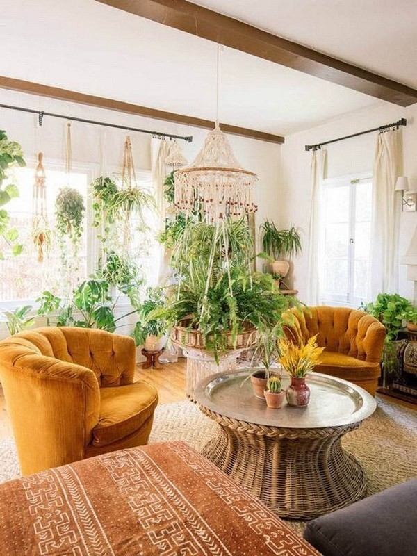 Boho-inspired-living-room-with-lots-of-hanging-plants Chic Bohemian Interior Design Ideas