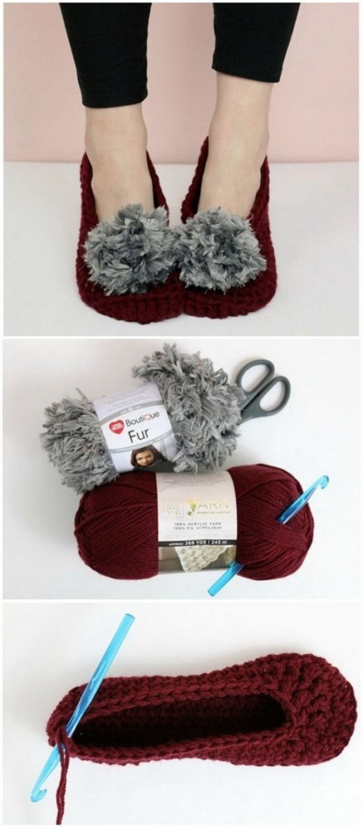 Fur-Pom-Pom-Crochet-Slippers-Pattern Easy Crochet Patterns And Projects For Beginners