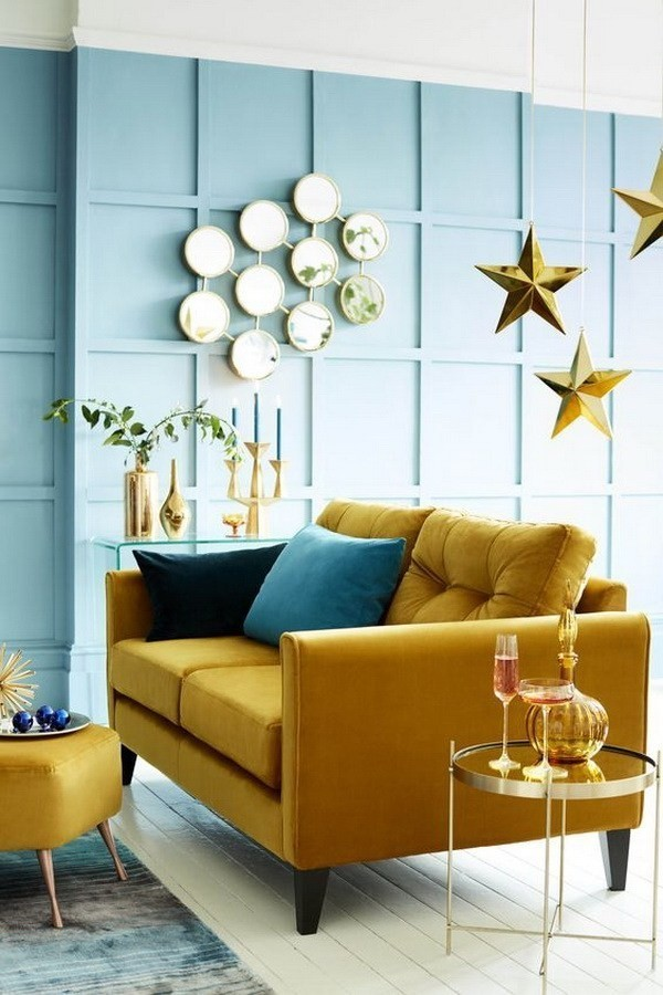 Guest-Room-With-Geometric-Yellow-Wallpaper-3 Decorating With Yellow: How To Brighten Your Space With Yellow