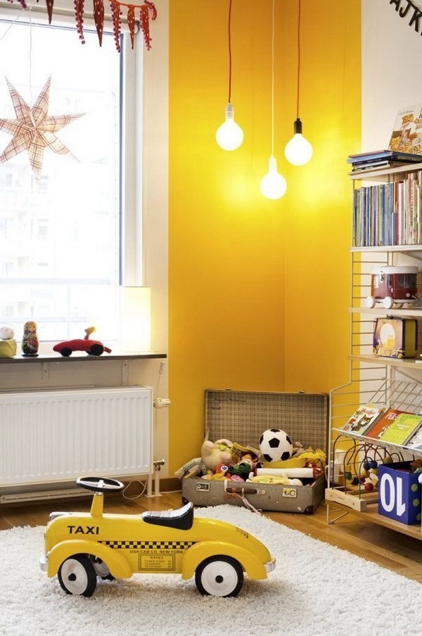 Guest-Room-With-Geometric-Yellow-Wallpaper-7 Decorating With Yellow: How To Brighten Your Space With Yellow