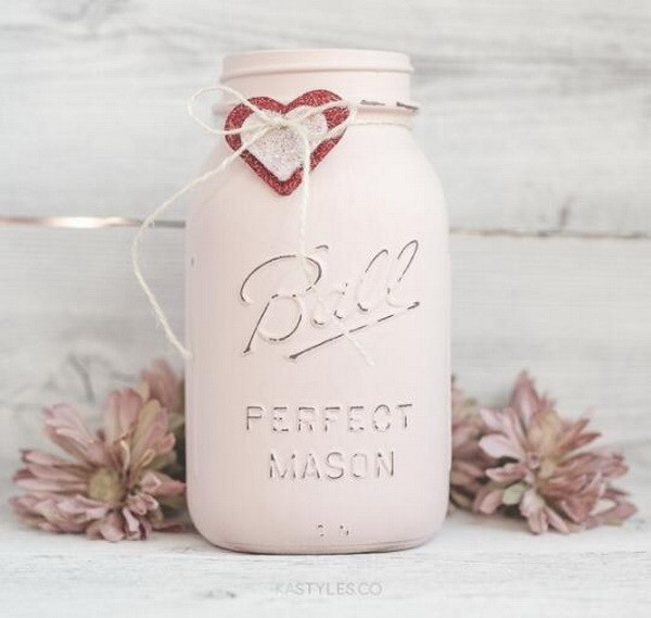 Latex-Painted-Valentine's-Day-Mason-Jars Sweet DIY Valentine's Day Decoration Ideas