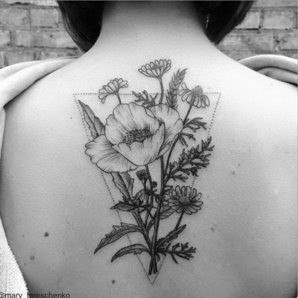 Colorless-Floral-Design-On-Back Pretty Flower Tattoo Ideas