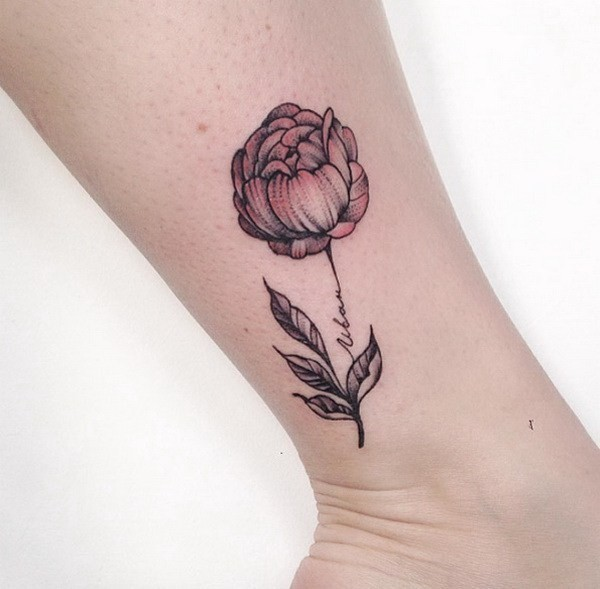 Delicate-Peony-On-Ankle-Design Pretty Flower Tattoo Ideas