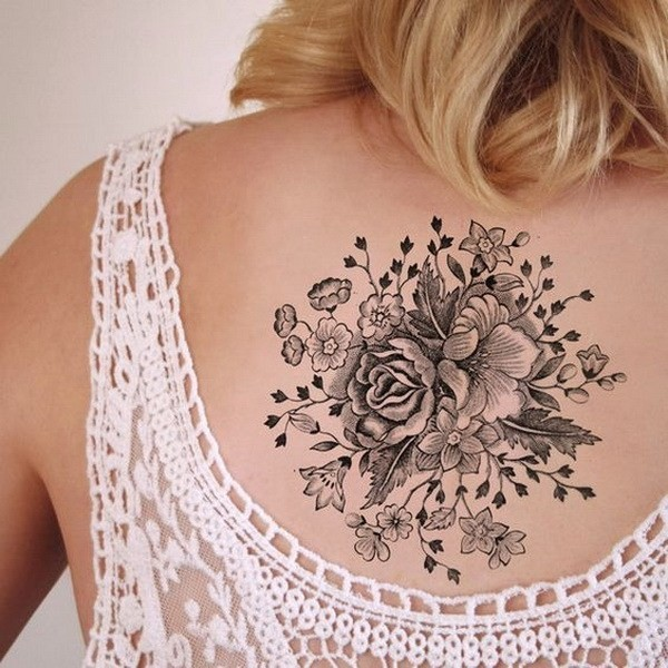 Large-Vintage-Floral-Temporary-Tattoo 60 Awesome Back Tattoo Ideas