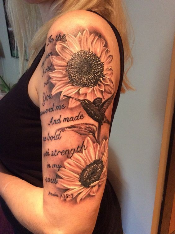 My-Beautiful-Sunflower-Tattoo-On-Sleeve Amazing Sunflower Tattoo Ideas